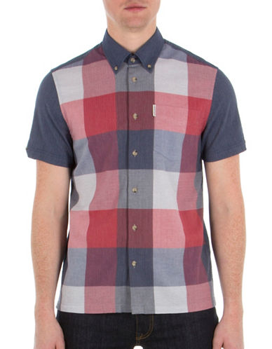 Ben Sherman Mod-Fit Checkered Cotton Shirt-BLUE-Small