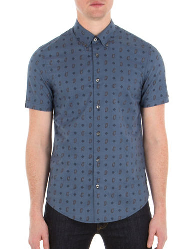 Ben Sherman Paisley Printed Shirt-BLUE-Small