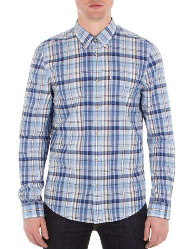 Ben Sherman West Coast Sound Studio Madras Checked Sport Shirt-SKY BLUE-Medium