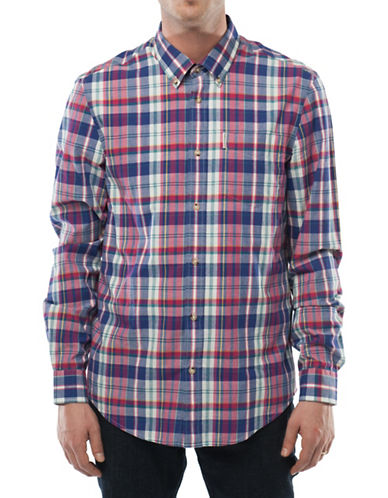 Ben Sherman West Coast Sound Studio Madras Checked Sport Shirt-BLUE-X-Large