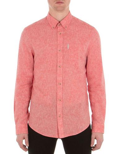 Ben Sherman Mod-Fit Linen-Blend Shirt-RED-Large