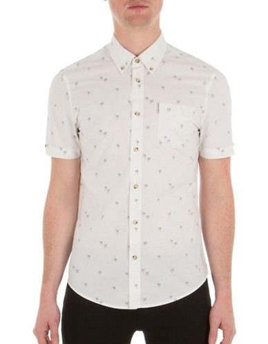 Ben Sherman Palm Tree Printed Shirt-WHITE-X-Large