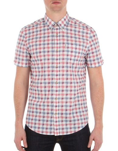 Ben Sherman Sketched House Gingham Printed Shirt-WHITE-Medium