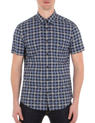 Ben Sherman Sketched House Gingham Printed Shirt-BLUE-Medium