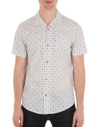 Ben Sherman Mod-Fit Optical Printed Cotton Shirt-SILVER-X-Large