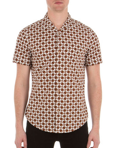 Ben Sherman Mod-Fit Optical Printed Cotton Shirt-BROWN-Large