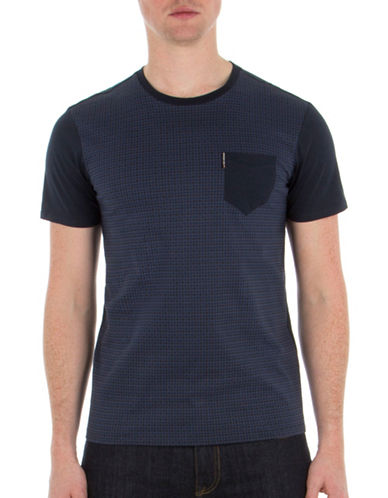 Ben Sherman Gingham Front Tee-BLUE-Small