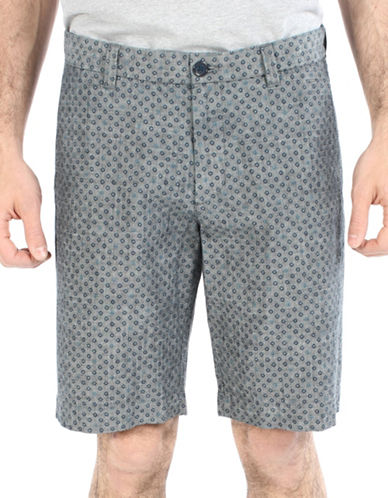 Ben Sherman Micro Printed Chambray Shorts-BLUE-32