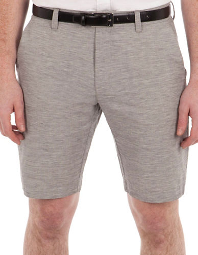 Ben Sherman Tonic Cotton-Linen Shorts-GREY-38