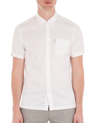 Ben Sherman Slub Twill Shirt-WHITE-Medium