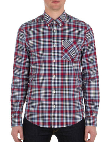 Ben Sherman Tartan Gingham Sport Shirt-BLUE-Small