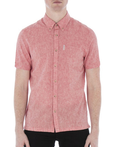 Ben Sherman Linen-Blend Short Sleeve Shirt-RED-Medium