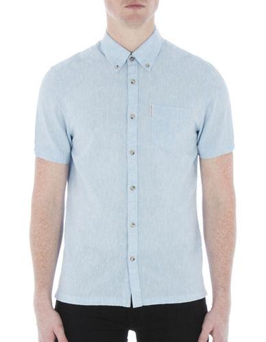 Ben Sherman Linen-Blend Short Sleeve Shirt-BLUE-Small