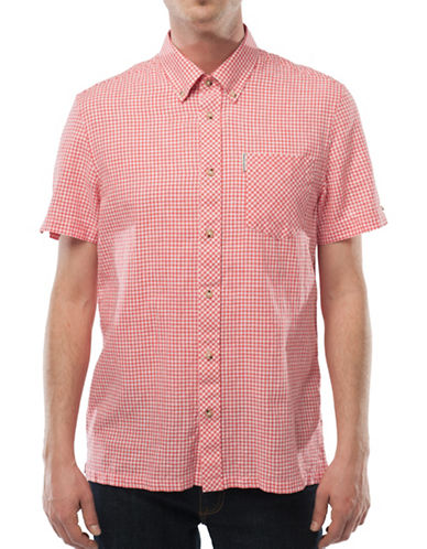 Ben Sherman Linen-Blend Gingham Shirt-PINK-X-Large
