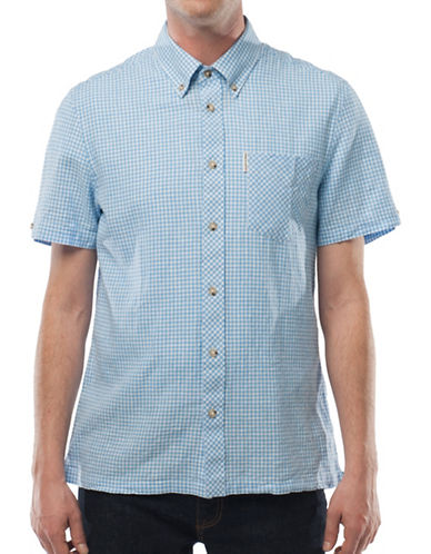 Ben Sherman Linen-Blend Gingham Shirt-BLUE-Small