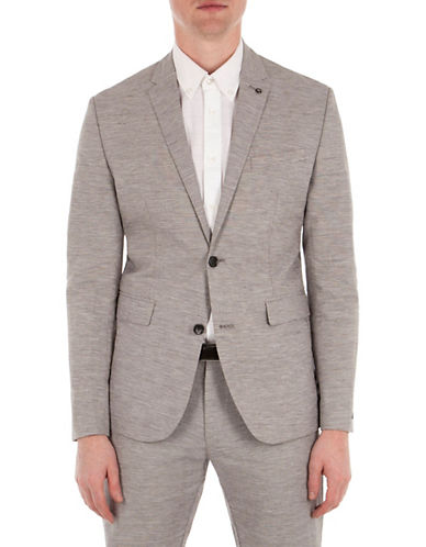 Ben Sherman Cotton and Linen Blend Textured Jacket-GREY-XX-Large 89144486_GREY_XX-Large