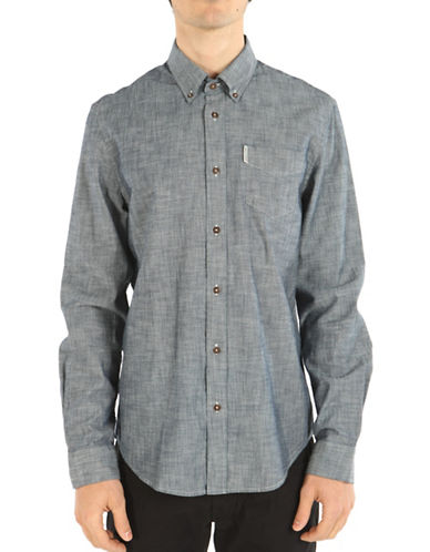 Ben Sherman Long Sleeve Chambray Shirt-NAVY-Small