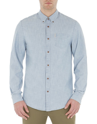 Ben Sherman Long Sleeve Chambray Shirt-BLUE-X-Large