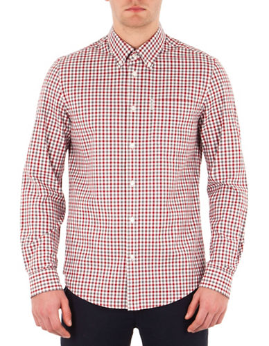 Ben Sherman Gingham Check Button-Down Shirt-WHITE-Small