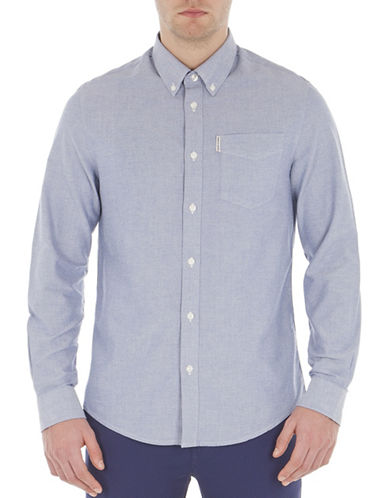 Ben Sherman Button-Down Oxford Shirt-MEDIUM BLUE-Small
