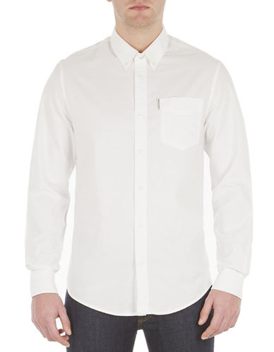 Ben Sherman Button-Down Oxford Shirt-WHITE-Large