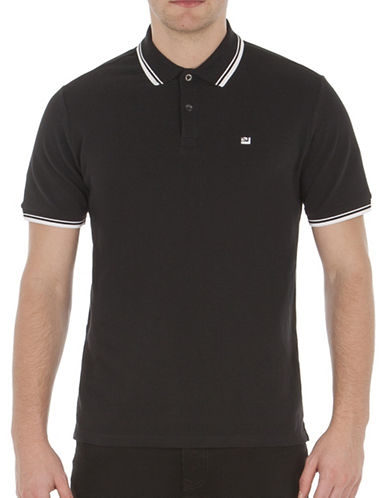 Ben Sherman Striped Short Sleeve Romford Polo-TRUE BLACK-X-Large