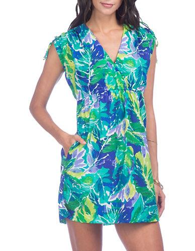 Lauren Ralph Lauren Tropical Print Dress-BLUE-X-Large