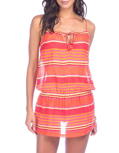 Polo Ralph Lauren Stripe Blouson Cover-Up Dress-CORAL-Medium