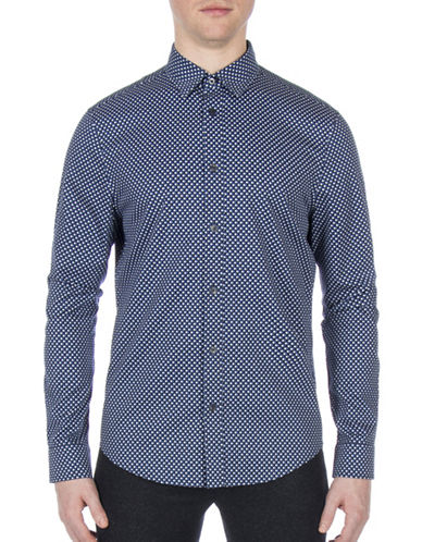 Ben Sherman Brighton Breton Apple Print Shirt-BLUE-Large