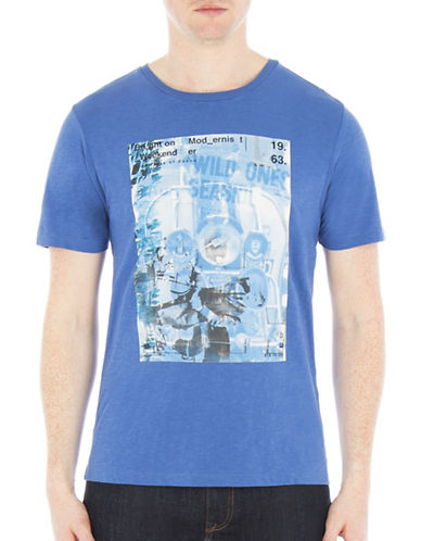 Ben Sherman Brighton Modernist Weekender Graphic Tee-BLUE-X-Large