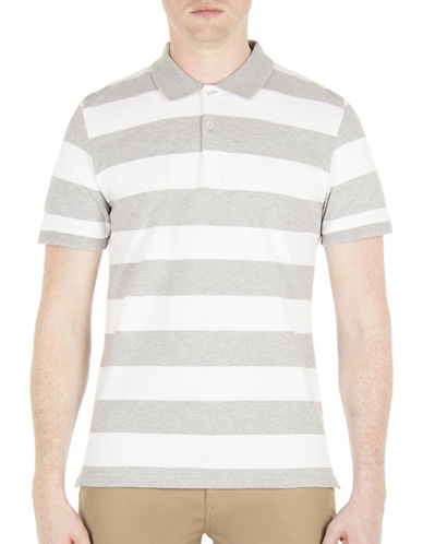 Ben Sherman Brighton Breton Striped Polo-GREY-X-Large