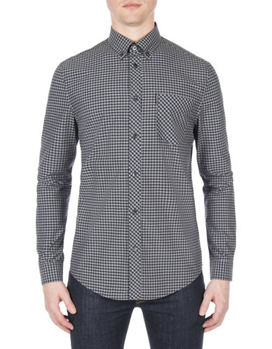 Ben Sherman Core Brushed Gingham Sport Shirt-BLACK-X-Large