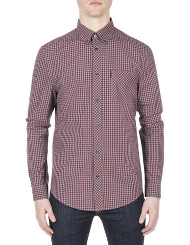 Ben Sherman Core Brushed Gingham Sport Shirt-PURPLE-Large
