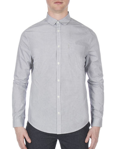 Ben Sherman Future Mod Micro-Linear Square Print Shirt-WHITE-Small