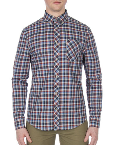 Ben Sherman Future Mod Gingham Print Shirt-BLUE-Large