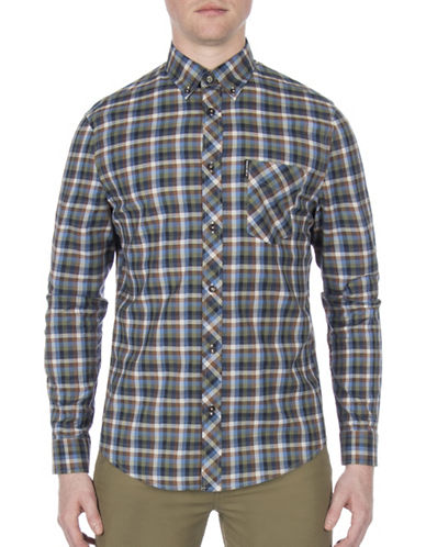 Ben Sherman Future Mod Gingham Print Shirt-GREEN-Small