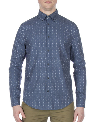 Ben Sherman Dobby Cotton Casual Sport Shirt-BLUE-X-Large