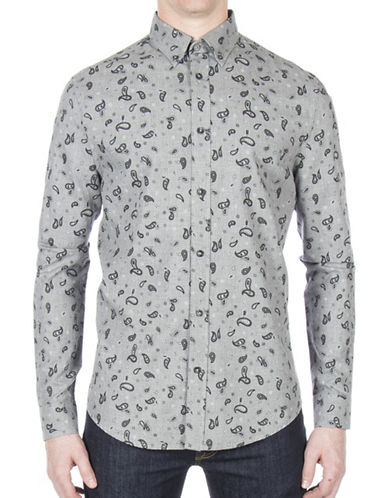 Ben Sherman Paisley Cotton Casual Button-Down Shirt-GREY-Large