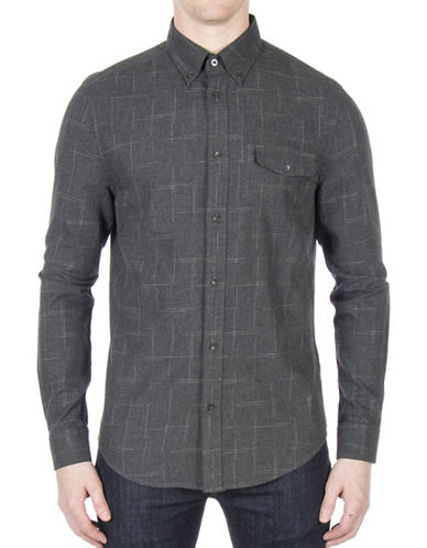 Ben Sherman Space Dye Cotton Casual Button-Down Shirt-GREY-Medium