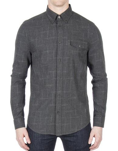 Ben Sherman Space Dye Cotton Casual Button-Down Shirt-GREY-Large