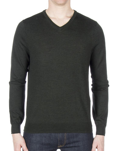 Ben Sherman V-Neck Wool Sweater-BLUE-Small