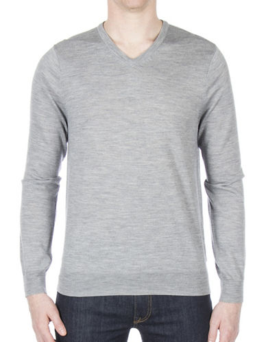 Ben Sherman V-Neck Wool Sweater-GREY-Medium