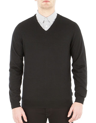 Ben Sherman V-Neck Wool Sweater-BLACK-X-Large