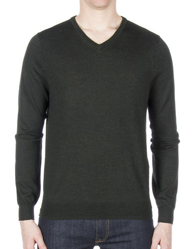 Ben Sherman V-Neck Wool Sweater-GREEN-Large