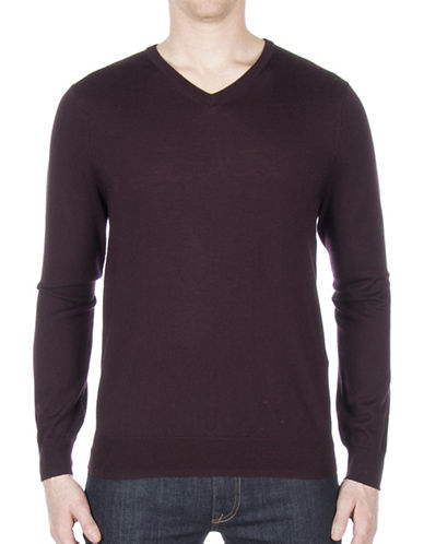 Ben Sherman V-Neck Wool Sweater-WINE-XX-Large
