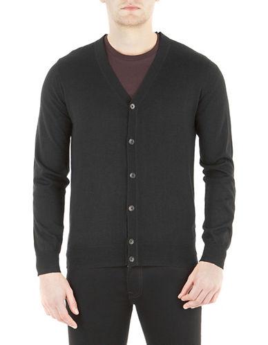Ben Sherman Button-Front Wool Cardigan-BLACK-Medium