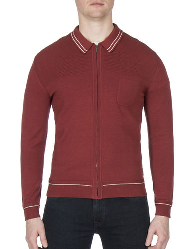 Ben Sherman Tipped Zip Collar Cotton Milano Jacket-COPPER-Large