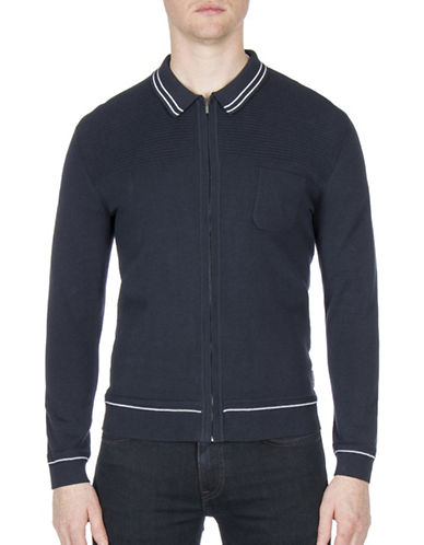 Ben Sherman Tipped Zip Collar Cotton Milano Jacket-BLUE-X-Large