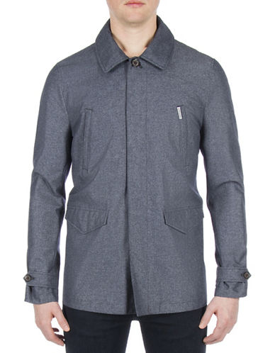 Ben Sherman Working Class Hero Buttoned Coat-BLUE-Large
