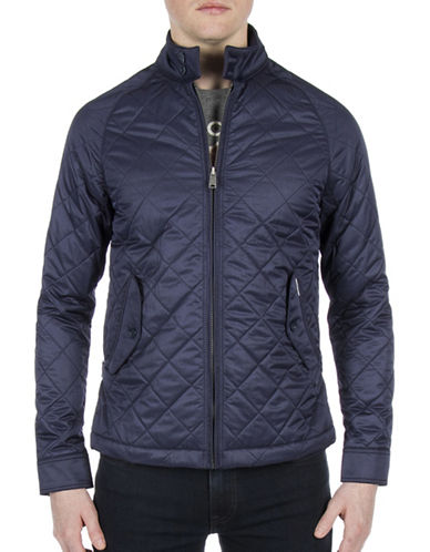 Ben Sherman Diamond Quilt Jacket-BLUE-Small